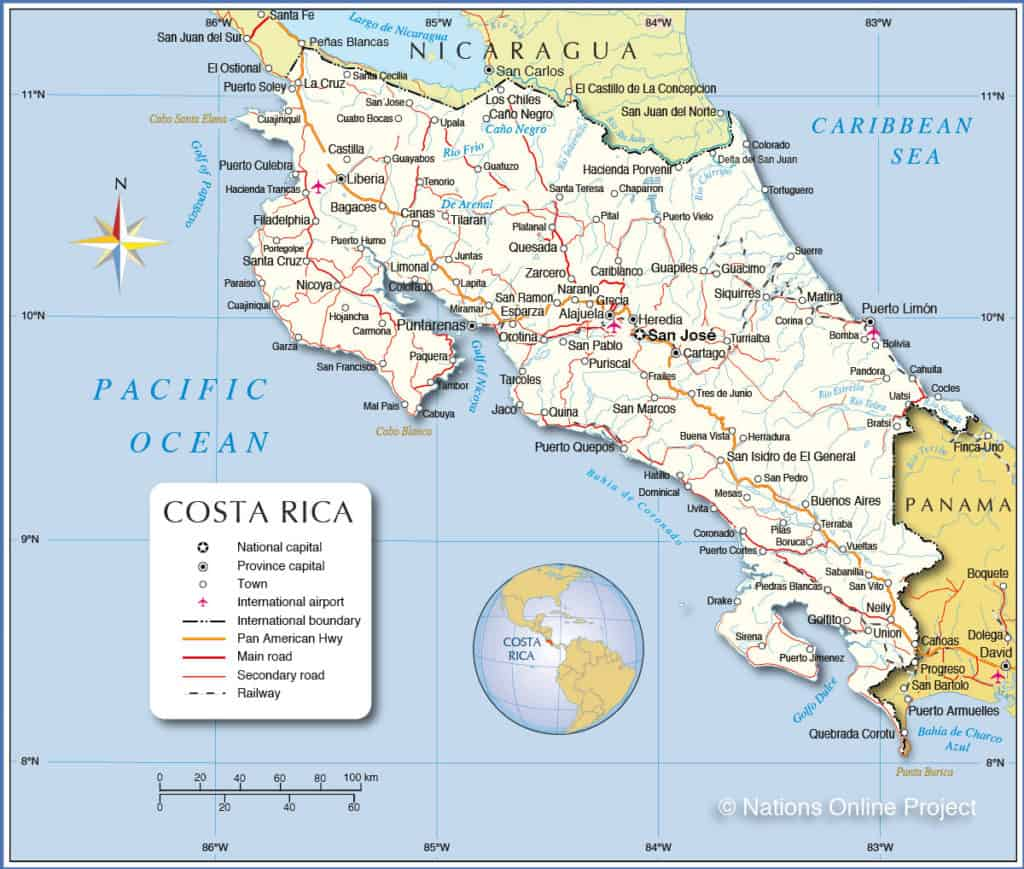 Map Best Things To Do In Costa Rica